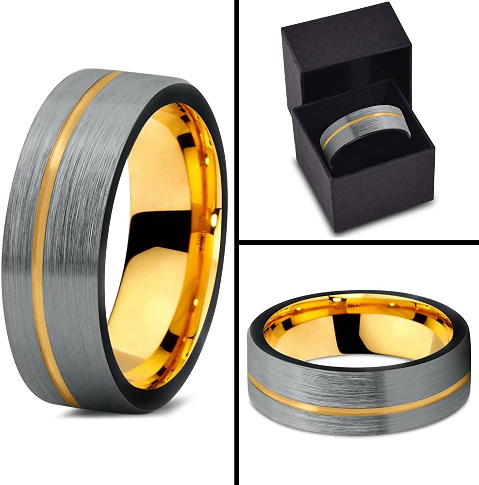 Midnight Rose Collection Tungsten Wedding Band Ring 7mm for Men Women 18k Rose Yellow Gold Plated Flat Cut Off Set Line Black Grey Brushed Polished