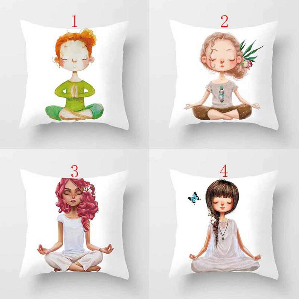 Fundas de coj/ín TWBB Yoga Meditaci/óN Almohada Cubierta Decoraci/óN Sof/á De Dise/ñO Silla Y Coche Cama