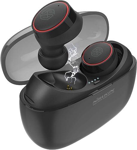 Nillkin True Bluetooth Earbuds TWS Wireless Earphones in-Ear Stereo Bluetooth Headphones Headset Bluetooth 5.0, Stereo Hi-Fi Sound, Total 24 Hours Playtime – Black Red