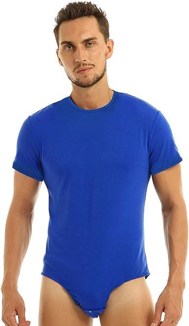 IEFIEL Body Entrepierna Abierta para Hombre Camiseta Camisa Manga Corta Mono Corto Algodón Bodysuit Slim Fit: Amazon.es: Ropa y accesorios