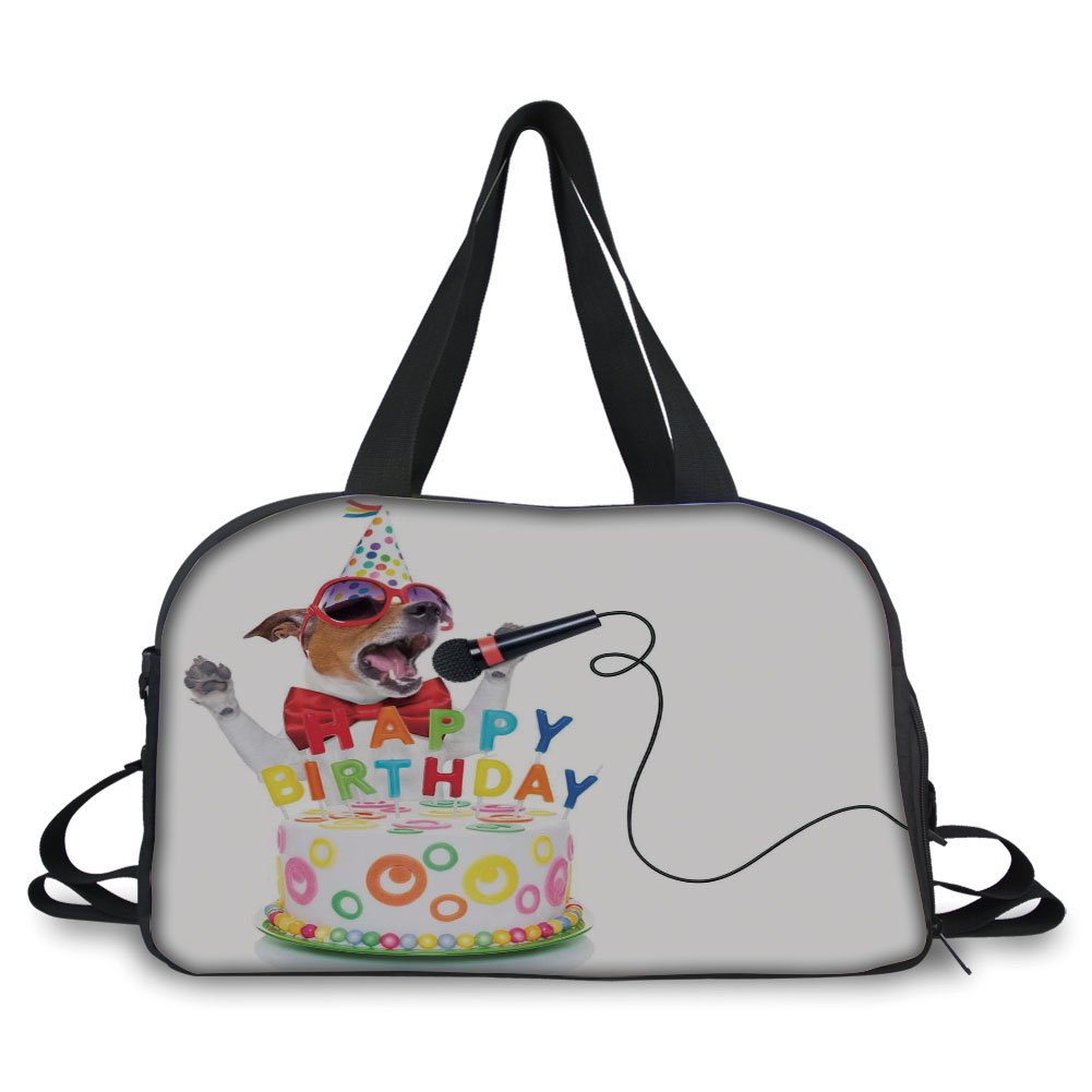 iPrint Travel handbag,Birthday Decorations for Kids,Musician Singer Dog with Glasses and Party Cake Cones Image,Multicolor ,Personalized