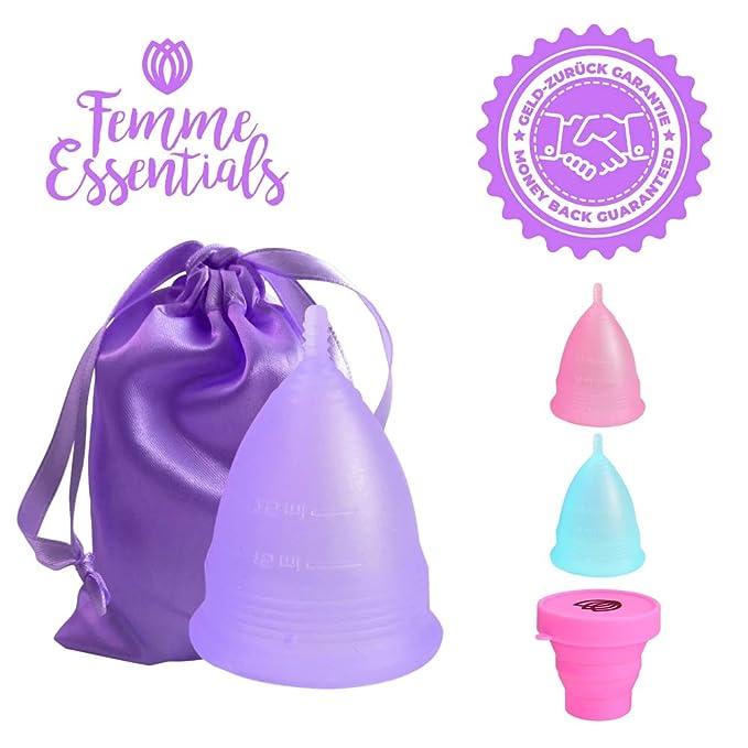 Copa Menstrual Femme Essentials | 100% de Silicona Hipoalergénica para Uso Médico | Ecológica, Segura, Cómoda y Higiénica | Tamaño: Pequeño | Incluye una ...