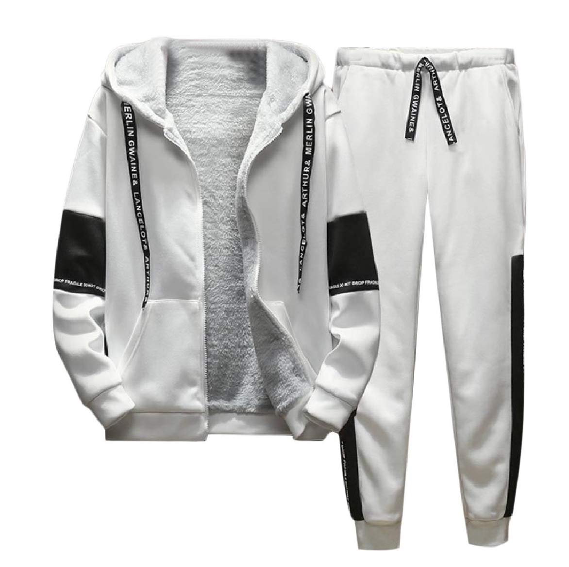 385c7c8171e6c6 White Abetteric Men Warm Fleece with Hood Hood Hood Comfy Zipper Winter  Sport Sweat Suit Set White S 3a0bf7