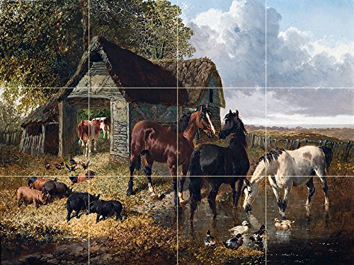 FARMYARD SCENE by JOHN FREDERICK HERRING pig horses ducks Tile Mural Kitchen Bathroom Wall Backsplash Behind Stove Range Sink Splashback 4x3 8'' Ceramic, Glossy by FlekmanArt