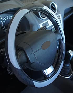 Ricambi Auto Europa - Funda para volante de coche, de color negro y gris,