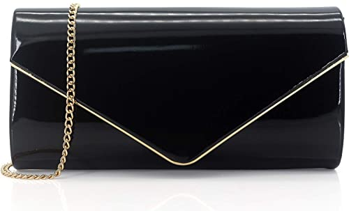 ceadb2a1ccd152 Dexmay Patent Leather Envelope Clutch Purse Shiny Candy Foldover Clutch  Evening Bag for Women Black