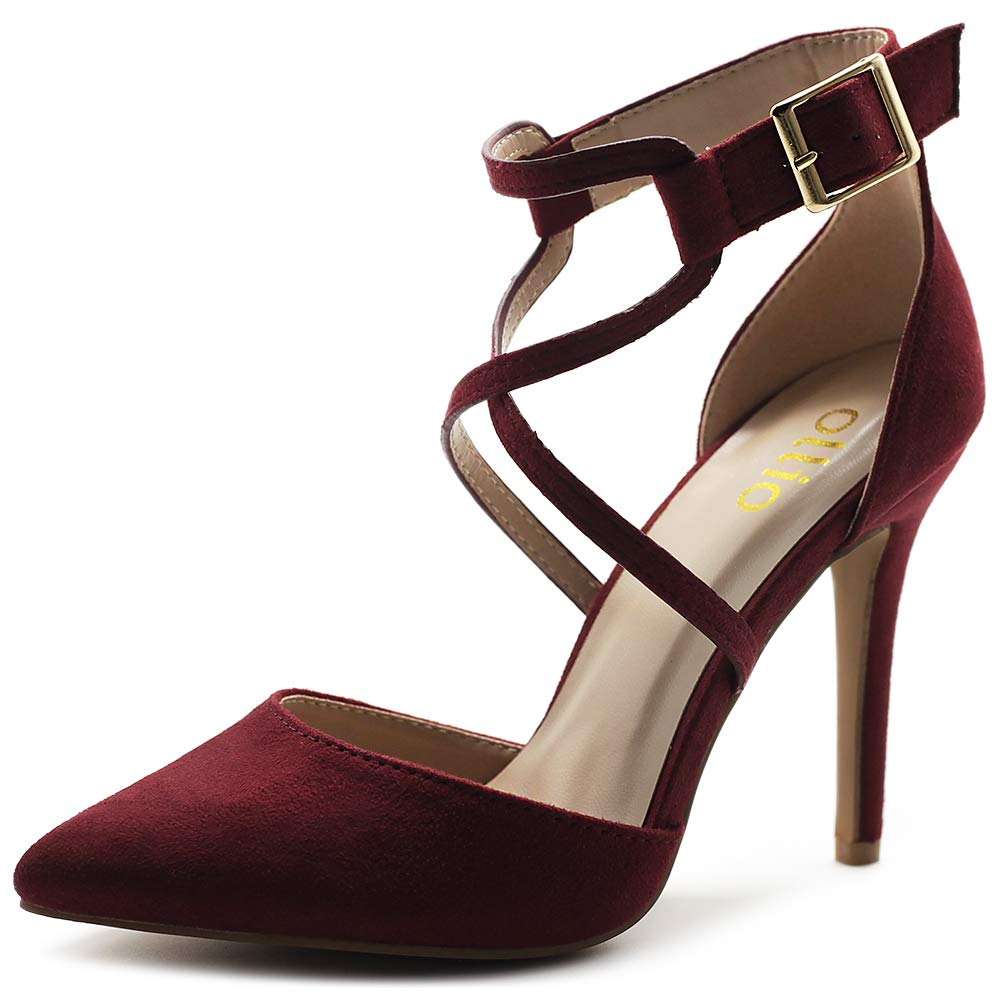 Burgundy Ollio Women's shoes Faux Suede Ankel Buckle Cross Straps Pointed Toe High Heels Pumps H96
