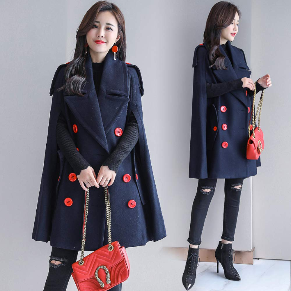 Navy M Navy M CLOTHES 2018 Autumn and Winter New Woolen Coat, Female Cloak in the Long Section Loose Thin Double-Breasted Woolen Coat Female