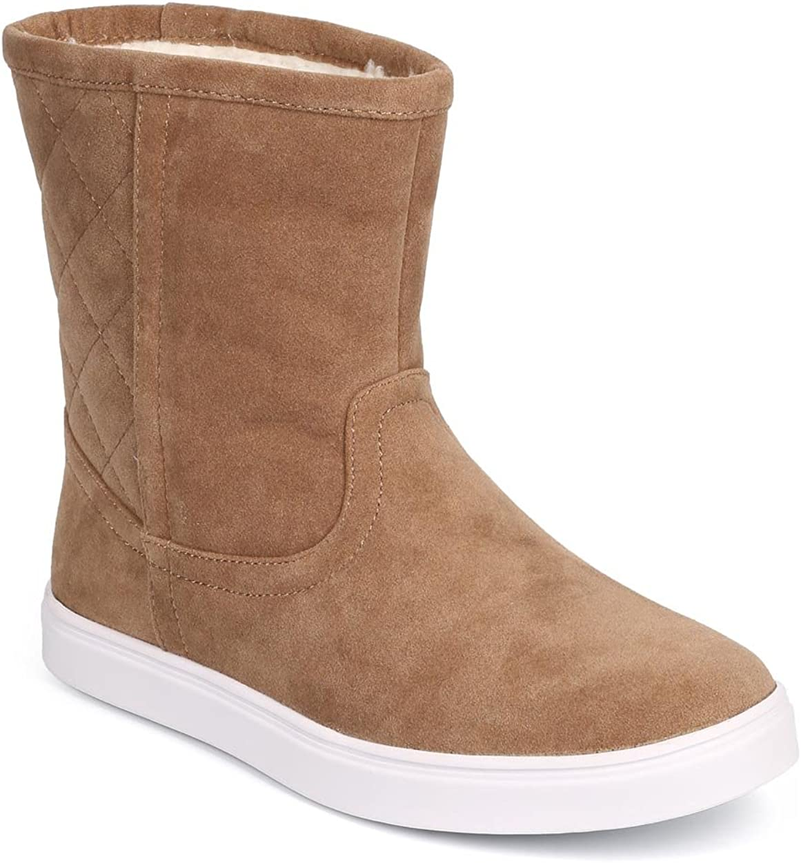 Refresh Women Suede Quilted Back Round Toe Riding Winter Boot DG90