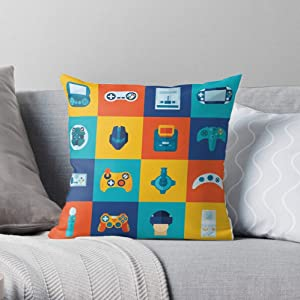 Nerdy Game Consoles Gaming Video Geek Games Controllers Nostalgia Square Form Decorative Indoor Cotton Throw Pillow