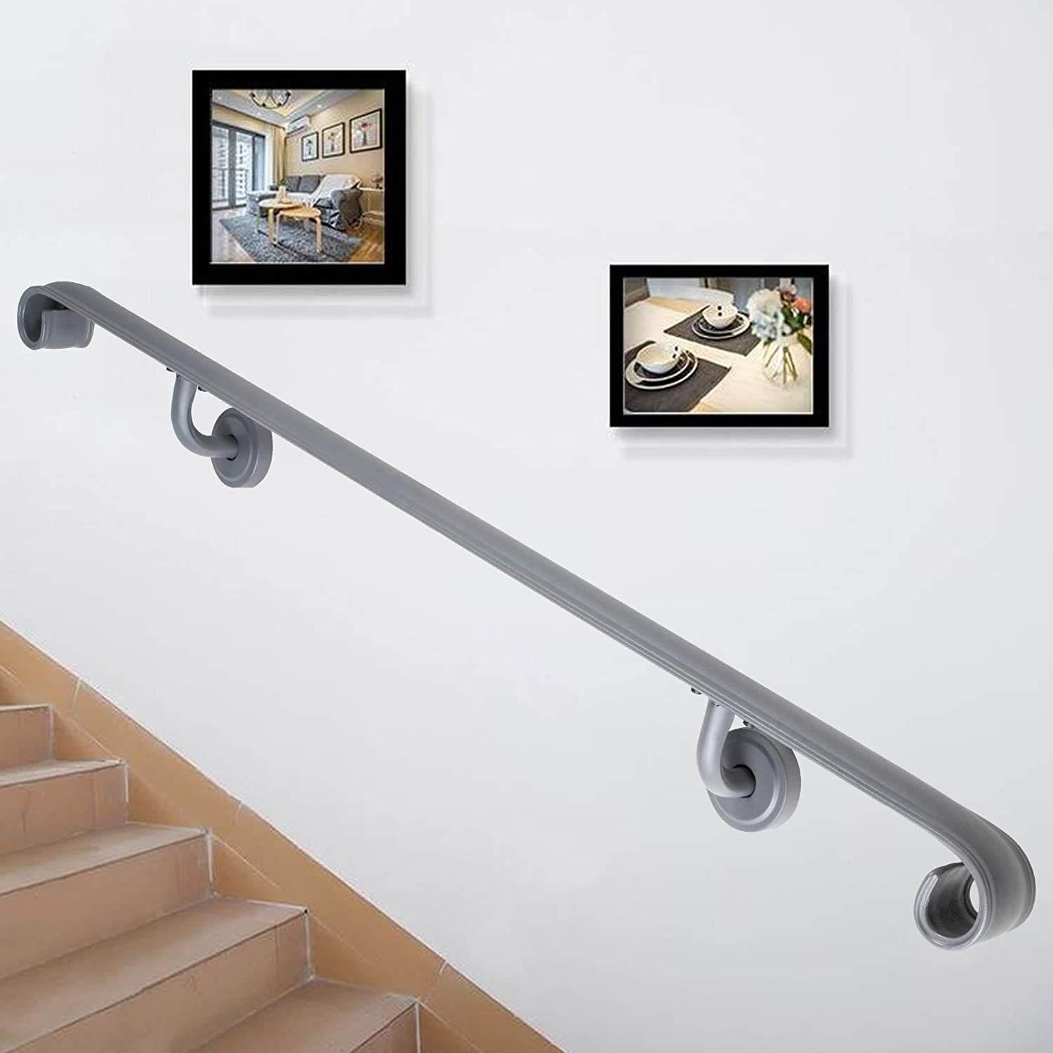 Happybuy Stair Handrail Three Step Stair Rail 24ft Length Modern Handrails  for Stairs Gray Wrought Iron Indoor Handrail for Stairs 24lbs Capacity  Wall