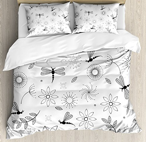 Ambesonne Dragonfly Duvet Cover Set Queen Size, Ethnic Bohem Inspired Flying Butterfly Like Bugs and Flowers Dandelion Image, Decorative 3 Piece Bedding Set with 2 Pillow Shams, Black and White ()