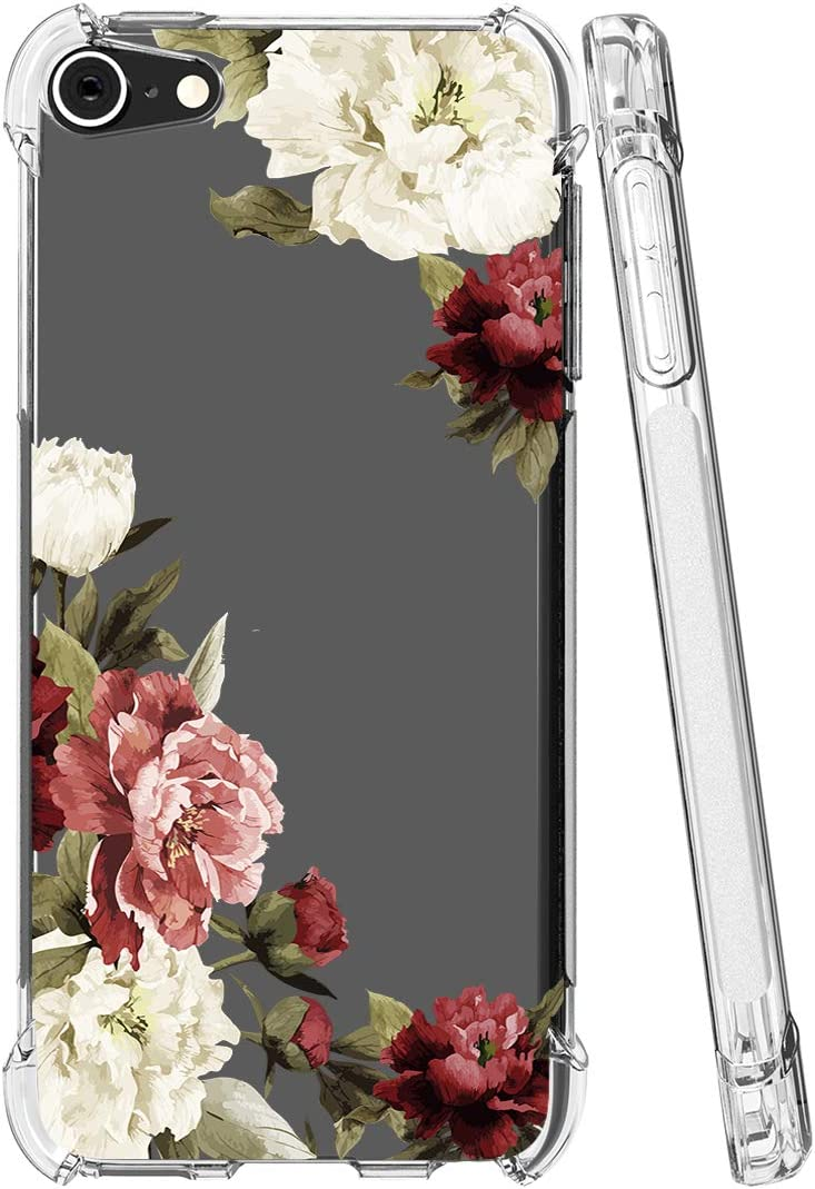iPod Touch 5 6 7 Case, iPod Touch Case 5th 6th 7th Generation Case for Girls, Ueokeird Clear Floral Pattern Soft Flexible TPU Phone Case Cover for Apple iPod Touch 5 6 7 (Blossom Flower)