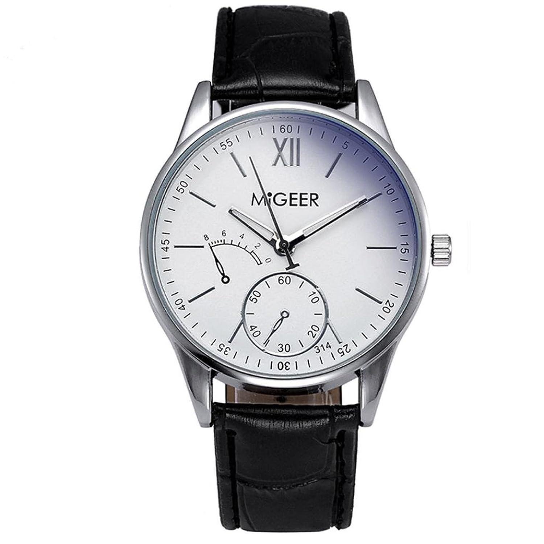 auwerビッグプロモーション。腕時計メンズアナログ時計、高級ファッションクロコダイルフェイクレザーメンズアナログWatch Wrist Watches AS show ブラック B079R4B4HBブラック