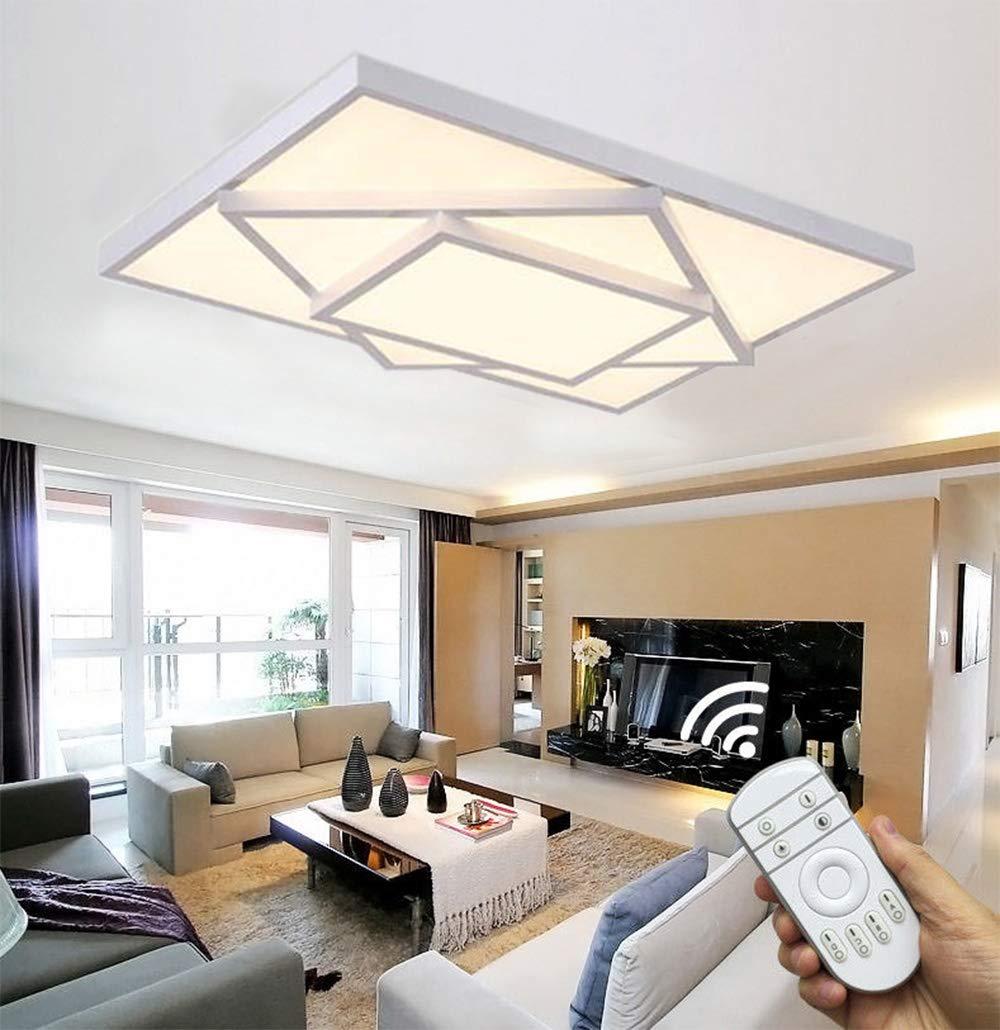 Style home 48W LED Deckenlampe für Wohnzimmer Schlafzimmer Kinderzimmer voll dimmbar mit Fernbedienung Weiß [Energieklasse A++] Rechteckig 6906F