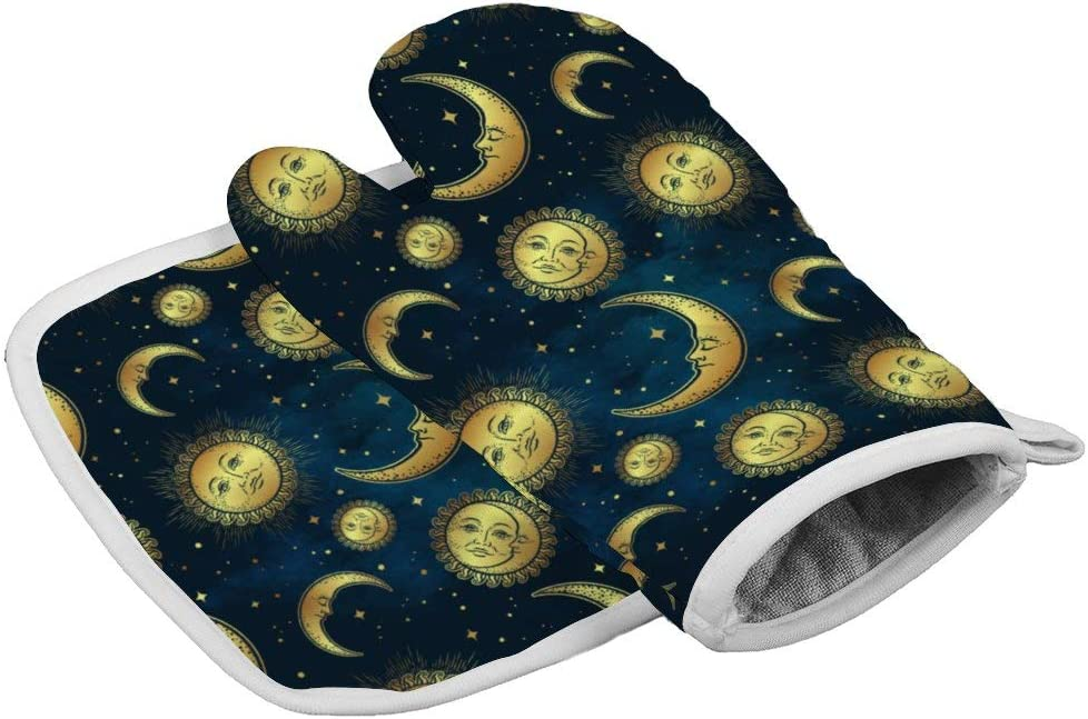 Boho Celestial Bodies Gold Sun Moon and Stars Oven Mitts,Professional Heat Resistant Microwave BBQ Oven Insulation Thickening Cotton Gloves Baking Pot Mitts with Soft Inner Lining