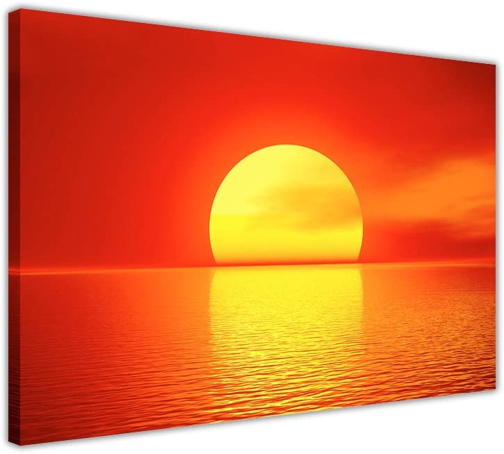 Art Contemporain. Canvas It Up Impression sur Toile Rouge Abstraite d/écoration int/érieure Coucher de Soleil sur la mer paysages Impression Photo de la Nature