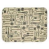 "InterDesign iDry Utensils Absorbent Kitchen Countertop Dish Drying Mat - 24"" x 18"", Wheat/Ivory"