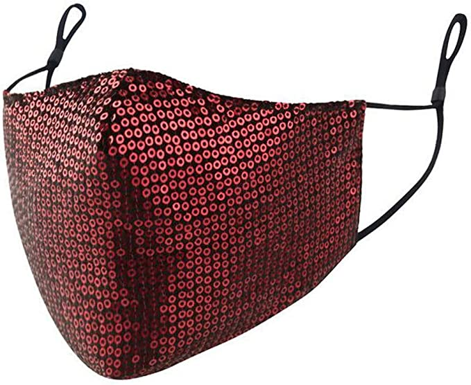 Amazon.com: 1PC Face Balaclavas Sequins Cotton Cloth Fabric Adults Reusable Breathable Washable Earloop Mouth Cover Protection Covering: Clothing