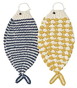 Now Designs Tawashi Fish-Shaped Scrubbers, Honey and Blue, Set of 2
