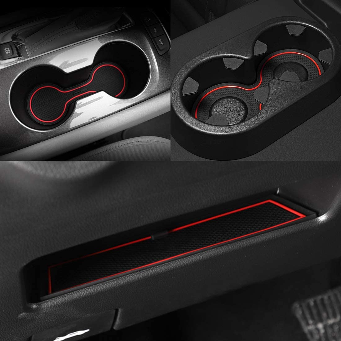 Red Trim Premium Cup Holder Chevy Silverado Cup Mats Anti-dust Silicone Mat for Chevy Silverado 1500 and GMC Sierra 2014-2018 Custom Liner Accessories Console Door Pocket Inserts Mats 31-pc Set