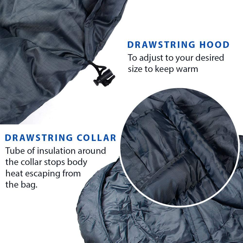 Outdoors Backpacking and Festivals ANSIO Mummy Sleeping Bag 3-4 season Water resistant Ideal for Camping Hiking