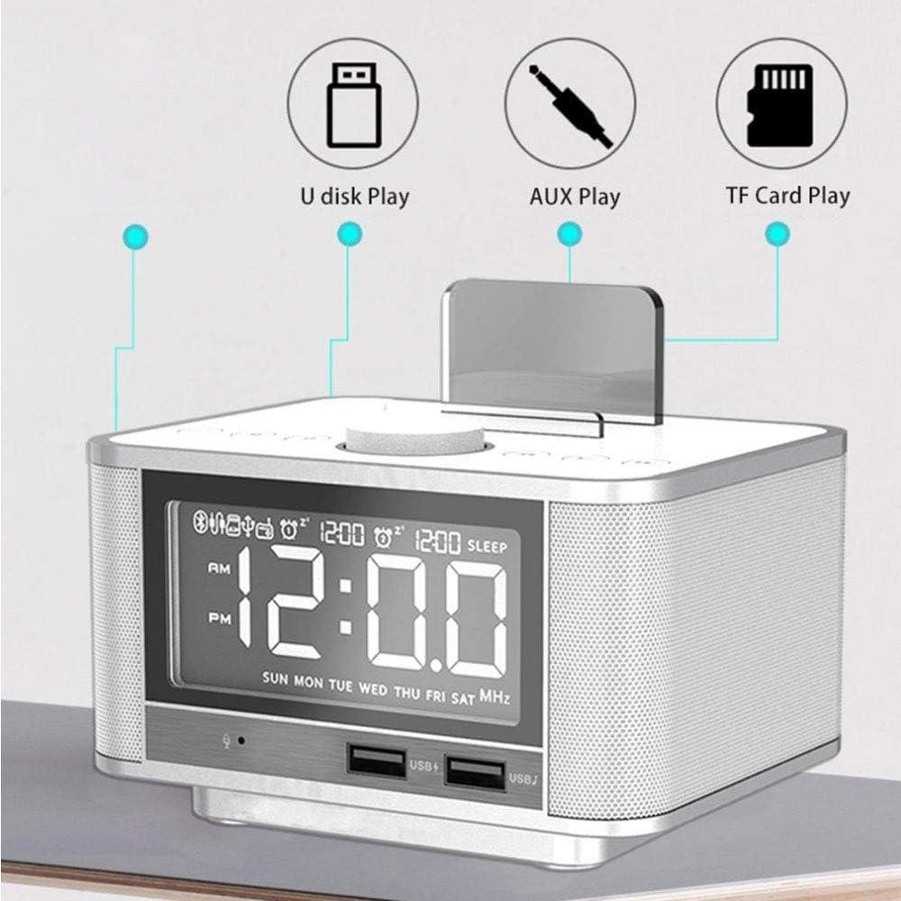 LEDU Radio Reloj con Alarma, Altavoz Bluetooth inalámbrico, Reloj Despertador Digital para el Dormitorio con Radio FM/Puerto de Carga USB/Aux-In y de la célula P