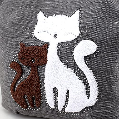 Hiigoo Lovely Canvas Cat Tote Bag Casual Handbag Shopping Bag Shoulder Bags Large Totes