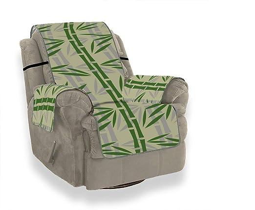 JEOLVP Bamboo Green Leaf Plant Sofa Funda de tapicería Sofá ...