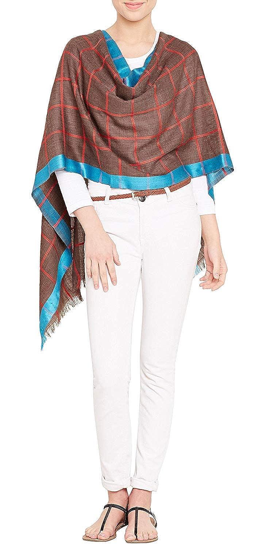 PARIJAT HANDICRAFT Handmade Women Scarf Wool 75/% Silk 25/% Wrap Neck Stole Warm Light Striped Pattern,27X70 Inch,115 Grams,Grey Black Blue
