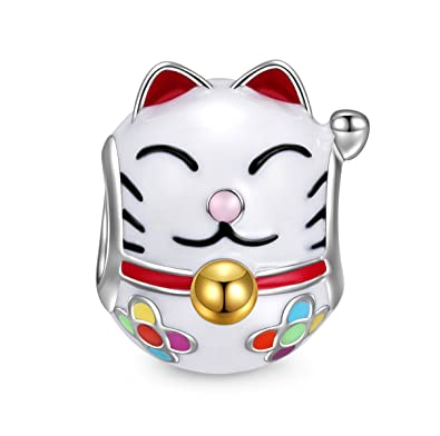 NinaQueen Lucky Cat 925 Sterling Silver Charms Bead for women fit pandora charms bracelet aaYxZ1F