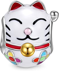 NINAQUEEN Women Bead Charms Lucky Cat 925 Sterling Silver Enamel Animal Fit Bracelets Necklace, Christmas Gifts, Come with a Gift Packaging, Nickel-free, Passed SGS