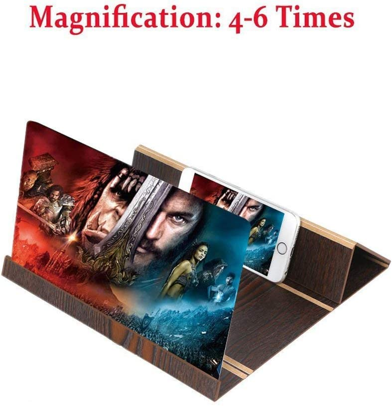 Boutiques//HD Mobile Screen Magnifier,3D Enlarge Phone Movies Amplifier Foldable Holder for All Smart Phone Wood,A