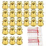Amytalk 24 Pack Golden Christmas Bell Place Card Holders Kissing Bell Table Card Holder Memo Photo Picture Number Sign Stands Holder for Party Wedding Table Decoration