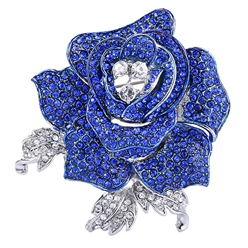 - EVER FAITH Women's Austrian Crystal Blooming Beautiful Rose Flower Brooch Sapphire-Color Silver-Tone