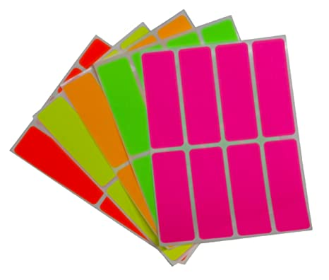 Royal Green Color Coding Labels neon 3 inch x 1 inch Rectangular Stickers  in Bright Colors/Yellow/Pink/Orange/Green/Red - 160 Pack