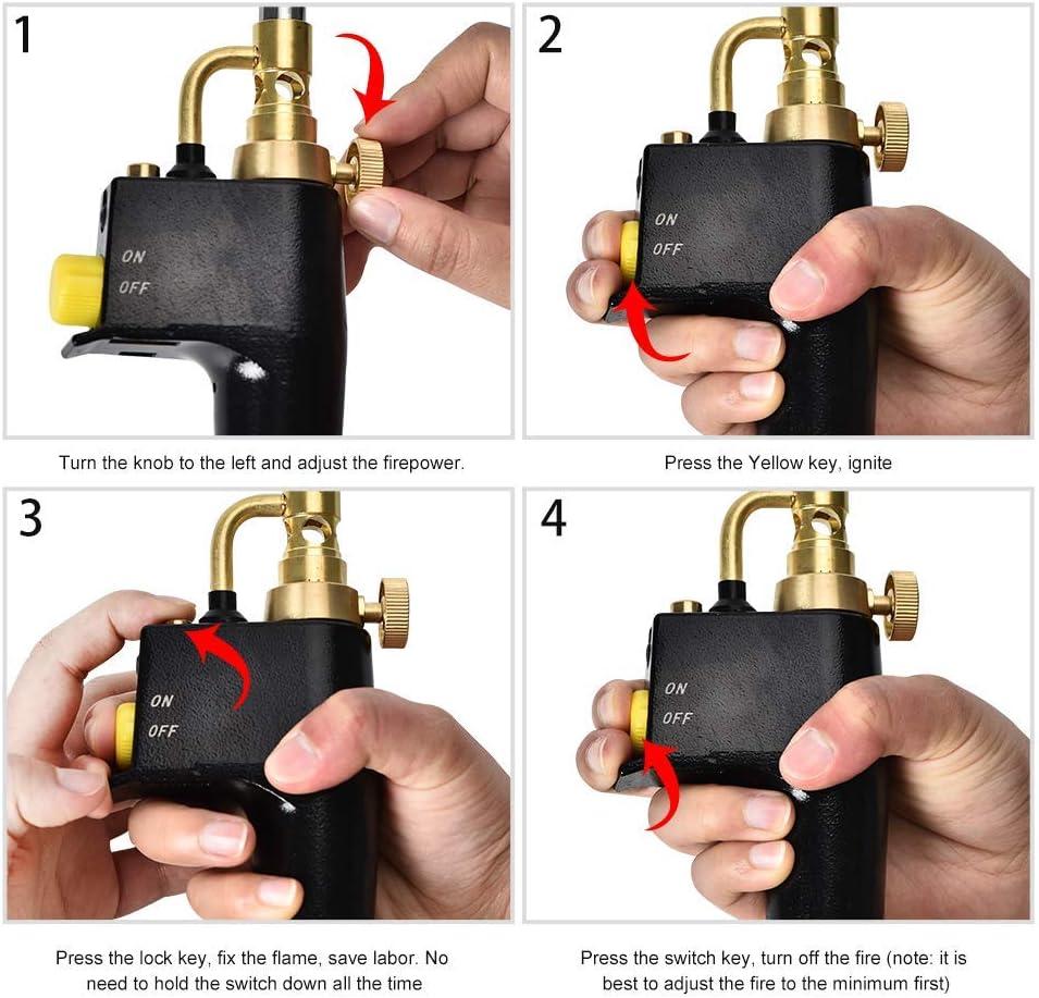 SEAAN MAPP Propanbrenner Mehrzweck-Startbrenner mit 3 D/üsen//Spitzen Gasflaschen nicht im Lieferumfang enthalten
