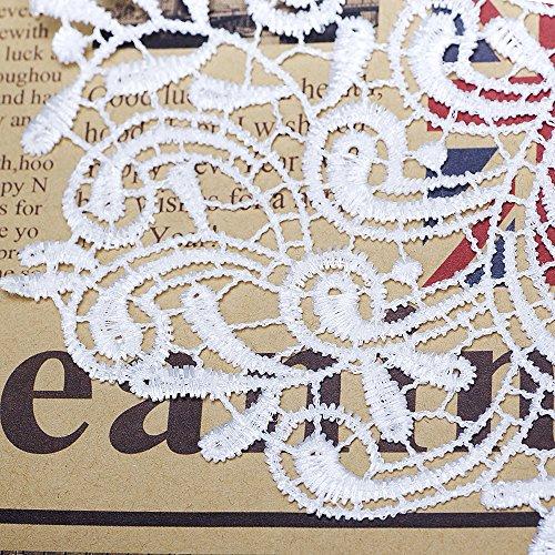 Misaya 2Pcs White Flower Embroidery Trim Neckline Collar Costume Venise Applique Fabric Cloth Sew On DIY Craft