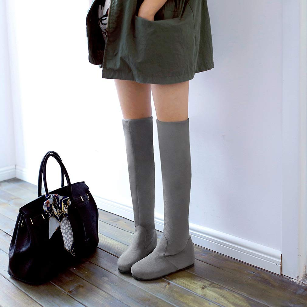 Hy 2018 Hohe Frauen Hohe 2018 Stiefel Herbst/Winter Wildleder Overknee Stiefel/Damen Große Größe Elastische Stiefel/Flache Stiefel Wanderschuhe (Farbe : Grau, Größe : 41) - aeebde