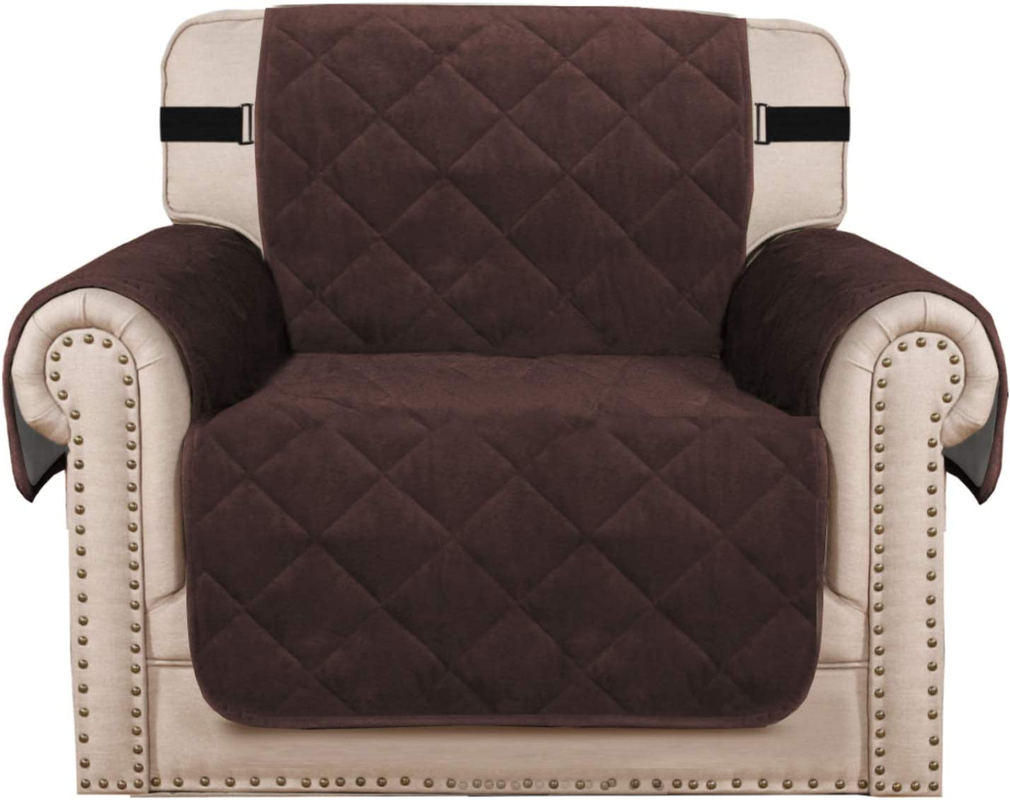 H Versailtex Thick Velvet Armchair Cover Couch Covers 1 Cushion Armchair Slipcover For Living Room Protector From Pets Dogs Two Non Slip Elastic Straps On Back And Base Armchair 23 Brown Kitchen