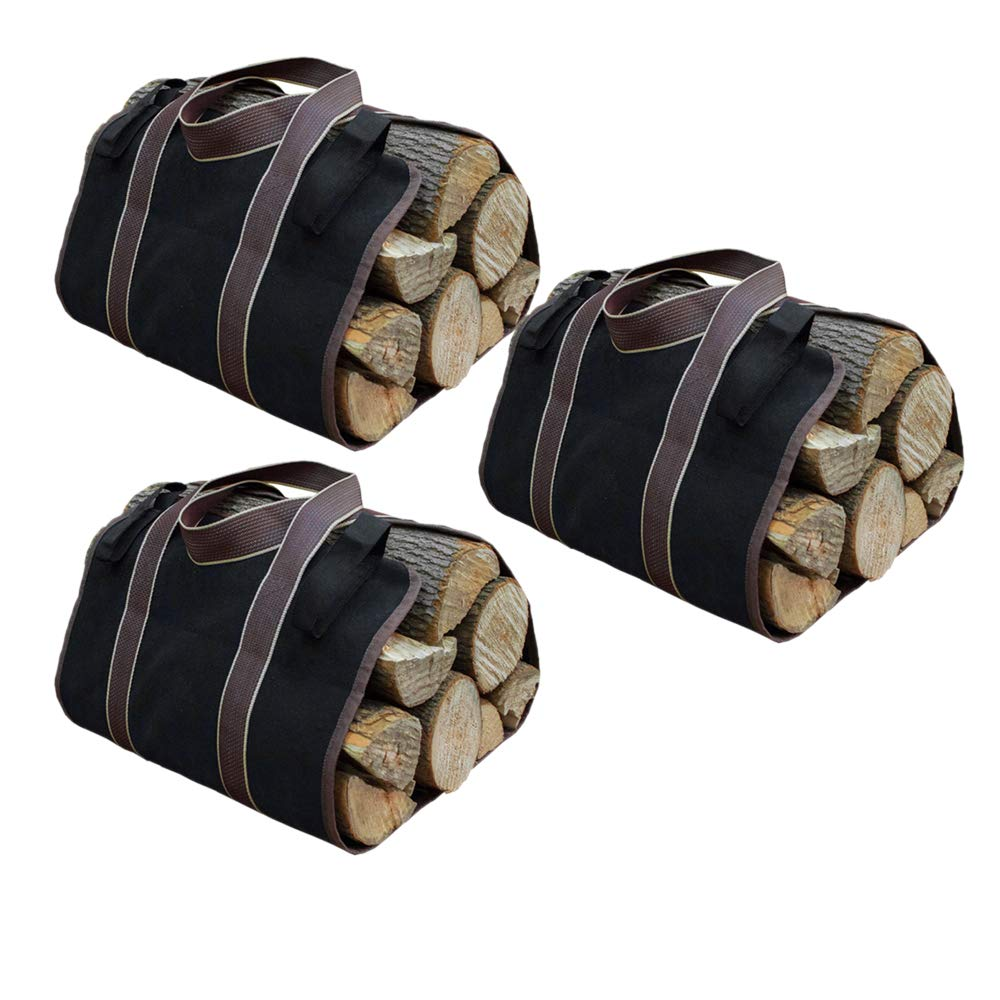 Canvas Log Carrier for firewood, Canvas Wood Tote Bag Large Indoor Fireplace Firewood Totes Holders with Handle, Woodpile Rack FireWood Carrying Tools Camping Set Basket Windyus