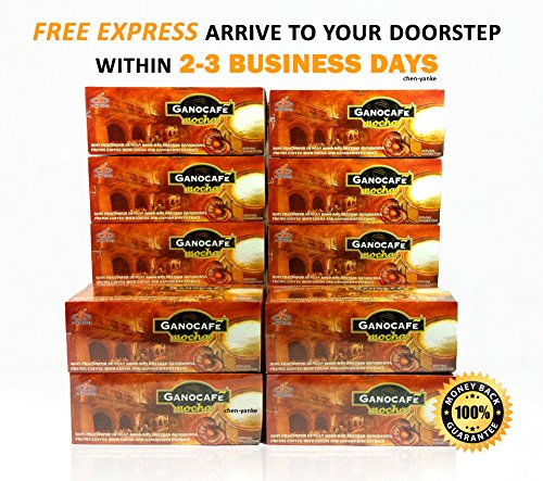 Gano Excel - 10 Boxes (150 Sachets) Ganocafe Mocha with Ganoderma Lucidum Extract + Free Express 2-3 Days ()