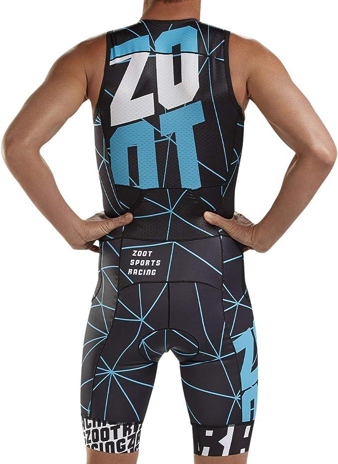 ZOOT Mens Large Tri Suit Sleeveless Black Red Triathlon Swim Cycling Run L