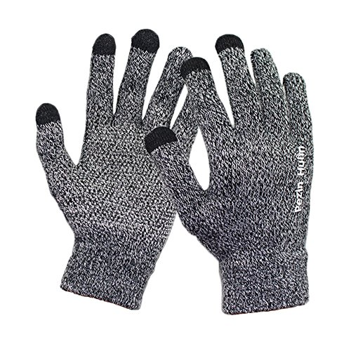 Knit Touch Screen Gloves, Winter Thick Warm Driving Texting Glove for Man&Women, Non Slip Soft Elastic Iphone Gloves - Pezin & Hulin (Black-white)