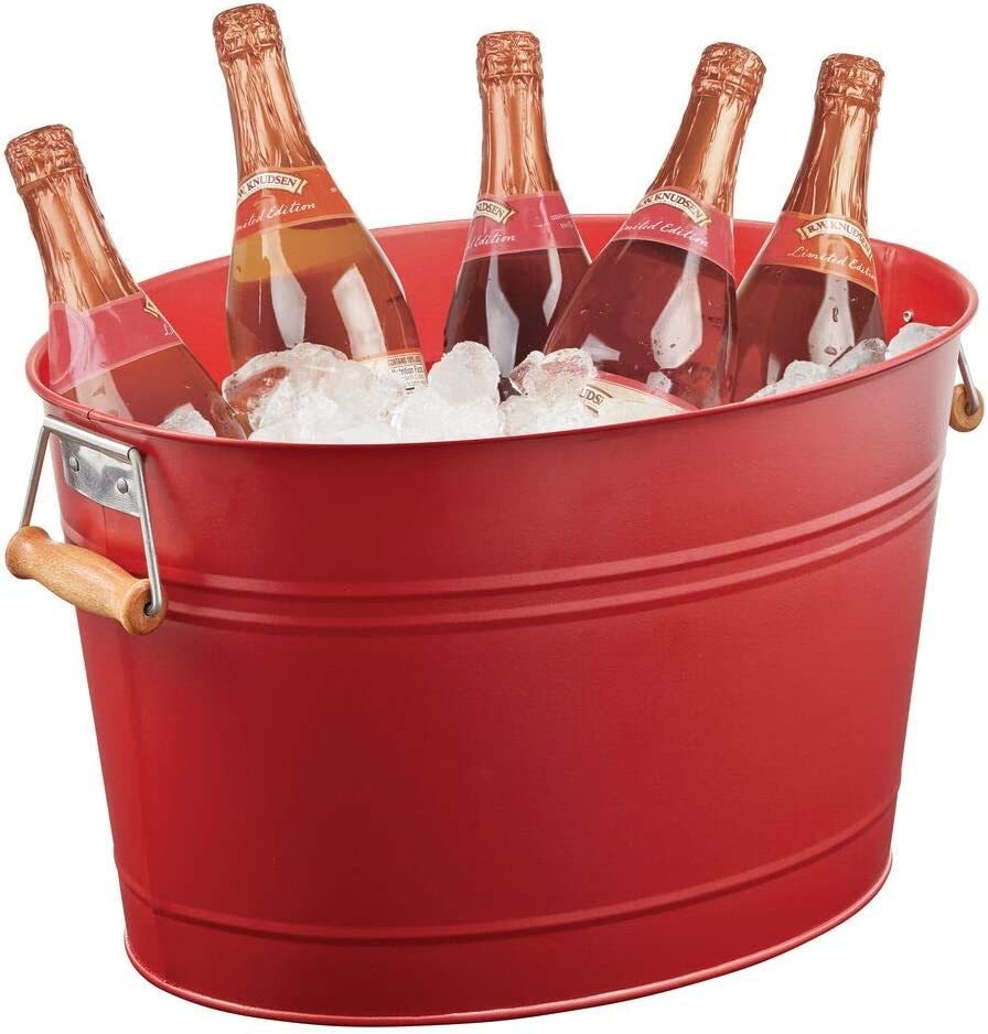 mDesign Metal Beverage Tub & Soda Pop, Beer, Wine, Ice Holder - Portable Party Drink Chiller - 18 Liter Container - Rustic Vintage Farmhouse Oval Storage Bucket Bin - Red/Natural Wood Handles