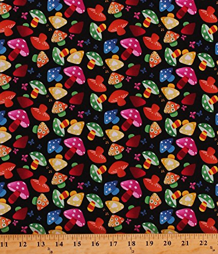 Cotton Rainbow Mushrooms Colorful Toadstools Fungus Fungi Butterflies Butterfly Flowers Floral Stars Hearts Kids Girls Black Cotton Fabric Print by the Yard (Rainbow Mushroom)