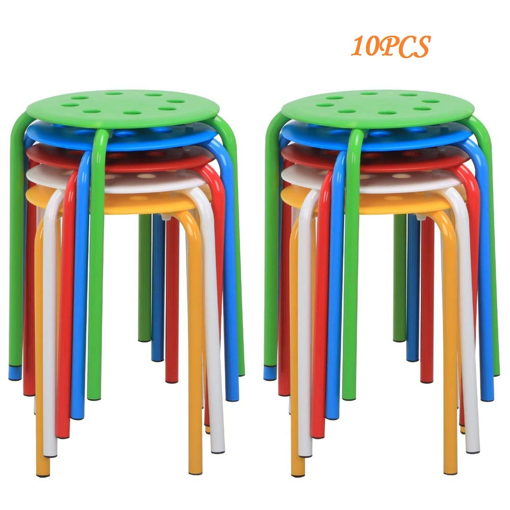 Topeakmart 10pcs Round Plastic Stack Stools Nesting Bar Stools for Kids Children Classroom Set 17.3in Height Blue/Green/Red/White/Yellow by Topeakmart
