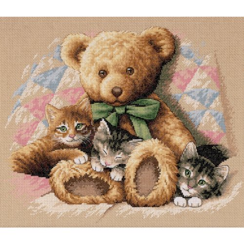 Dimensions 'Teddy & Kittens' Counted Cross Stitch Kit, 14 Count Beige Aida, 14