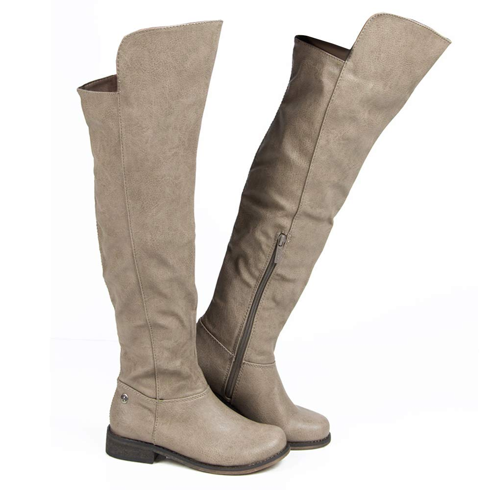 Beige-t ROF Women's Fashion Comfy Vegan Suede Block Heel Side Zipper Thigh High Over The Knee Boots