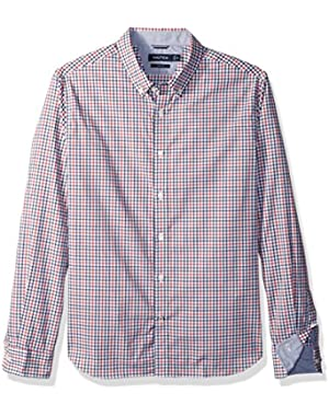 Men's LS Wrinkle Resistant Stretch Poplin Plaid Button Down Shirt